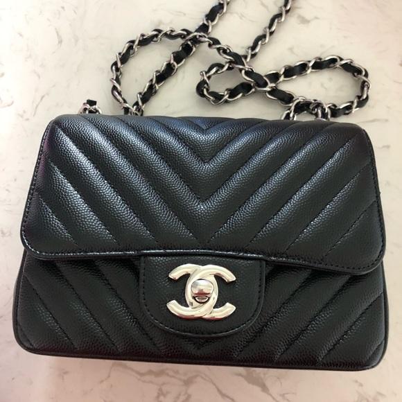 251d8f1e086c CHANEL Handbags - Authentic Chanel Black Caviar Chevron Square Mini